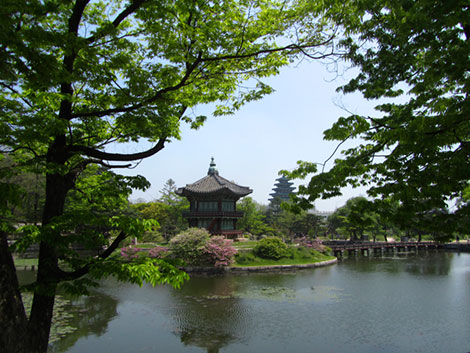 Ein Teich in den Gärten des Gyeongbokgung Palastes. In der Mitte eine kleine Insel und eine zweistöckige Pagode.