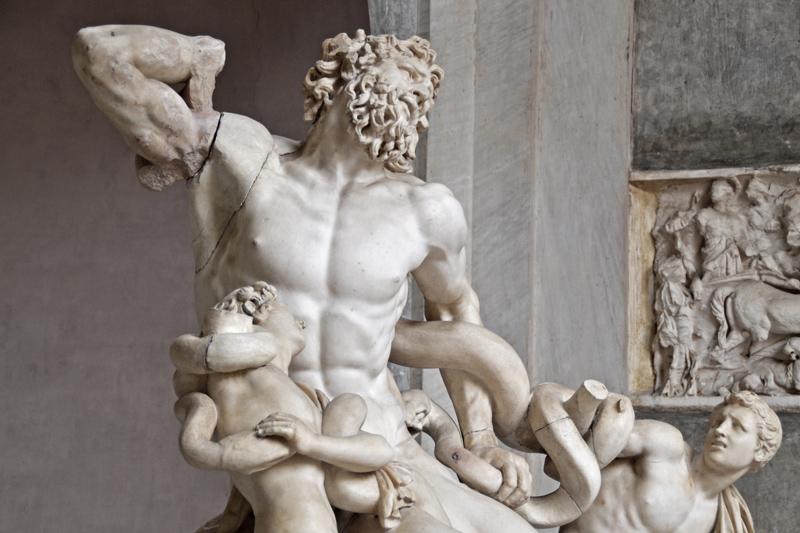 Die antike Statue des Laokoon und seinen Söhnen, die von der Schlange erdrückt werden. In den Vatikanischen Museen.