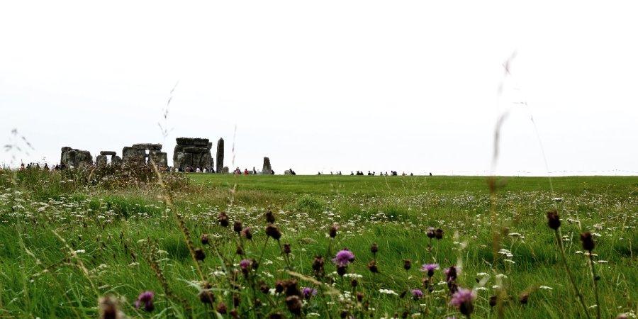 Stonehenge - fern, jenseits einer grünen Wiese