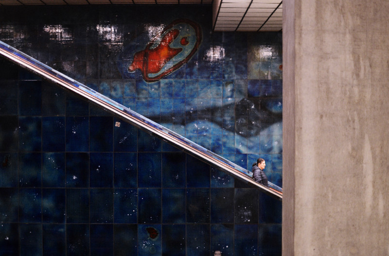 Fototour entlang der Münchner U3: Rolltreppe am Scheidplatz