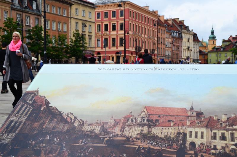 Warschaus Altstadt mit Caneletto-Gemälde im Vordergrund