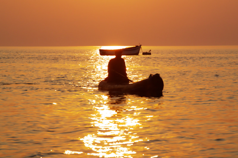 Sonnenuntergang in Cape Maclear, Lake Malawi