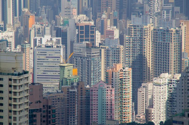 Hongkong: Dicht an dicht gedrängt die unzähligen Hochhäuser