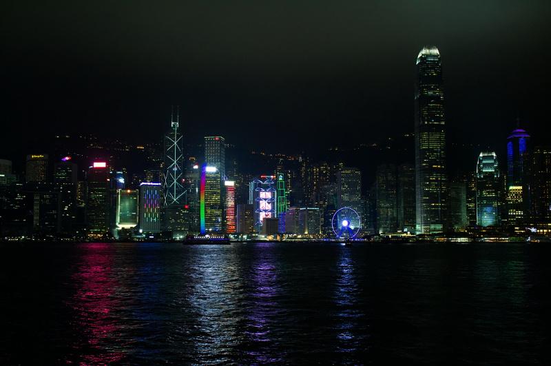Hongkong: Skyline bei Abend (groß)