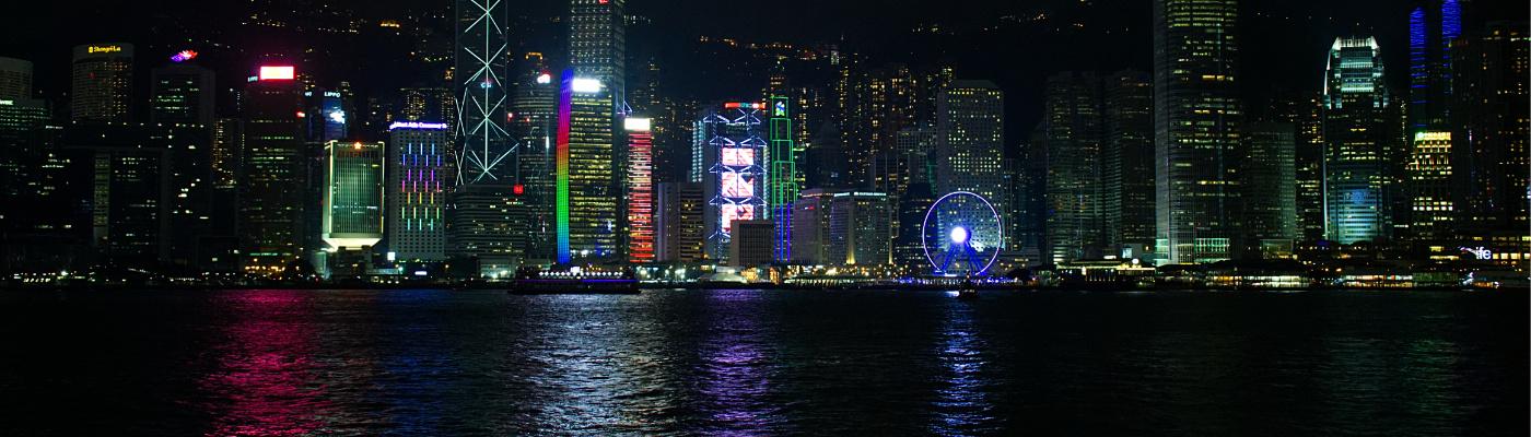 Hongkong: Skyline bei Abend