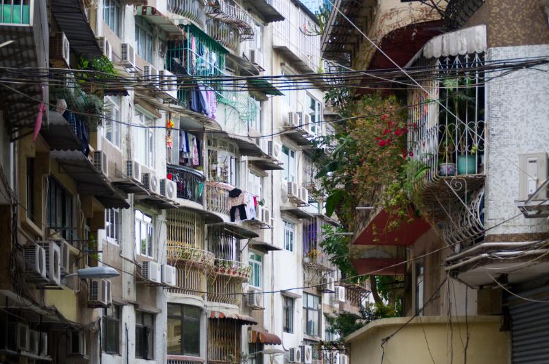 Macau: dicht bebaute Straße