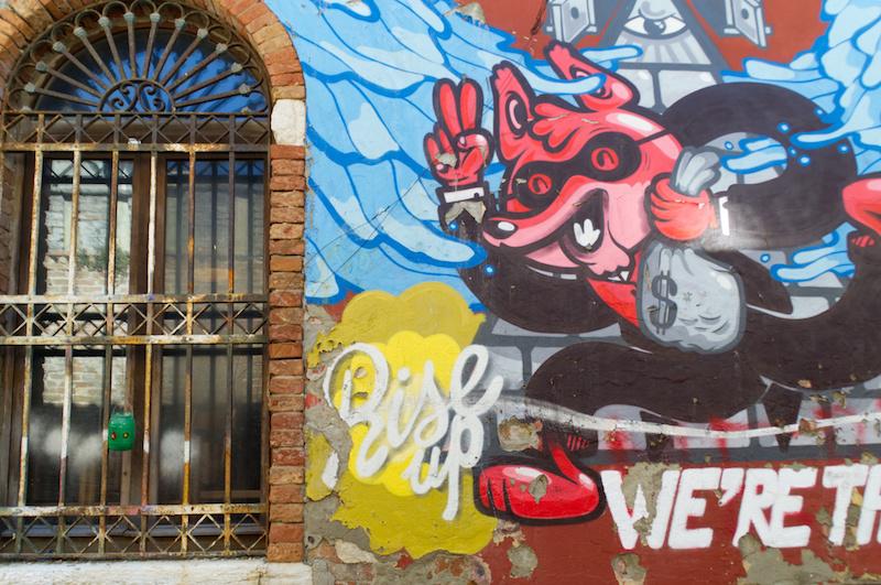 Venedig: Streetart-Graffiti mit Aufschrift We're the 99 percent