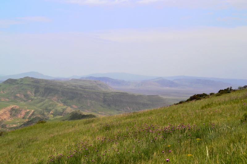 Ein Blick über das weite Land rund um David Gareja in Georgien