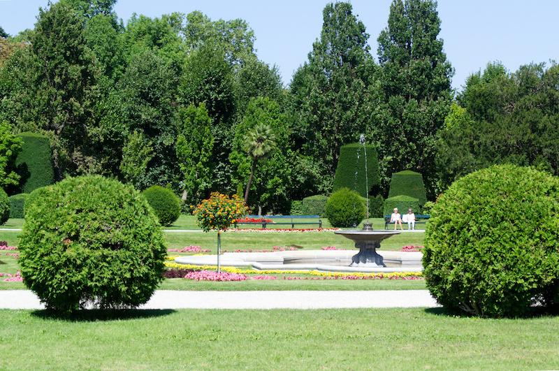 Springbrunnen und Bäume im Schlosspark von Schönbrunn
