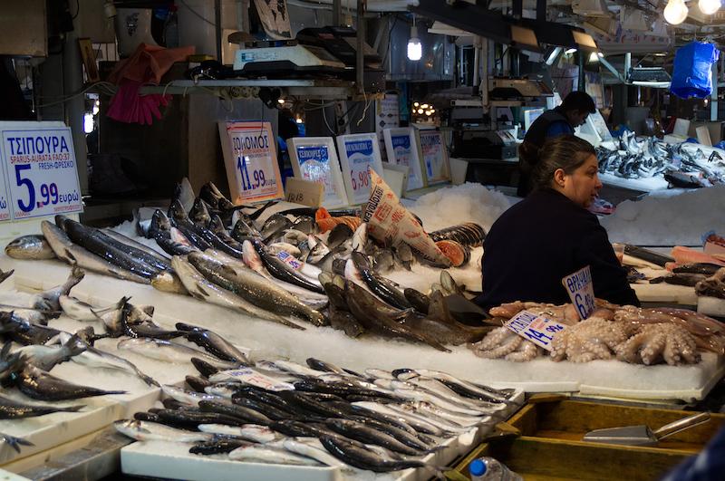 Fisch auf dem Markt von Athen