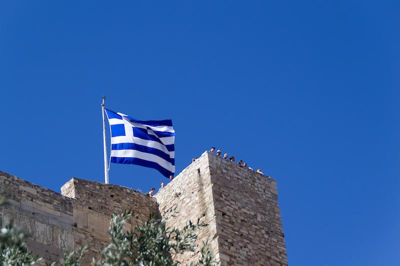 Die griechische Flagge auf der Akropolis