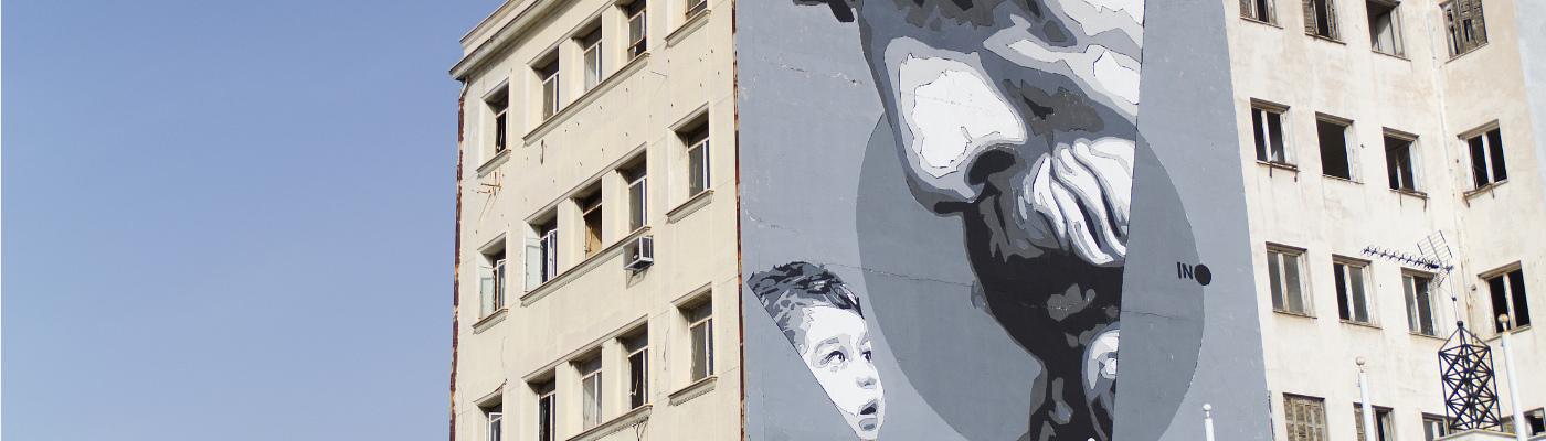 Streetart an einem Haus in Piräus
