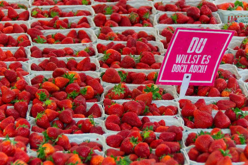 Reihen von Erdbeerschalen auf dem Bauernmarkt in Bamberg