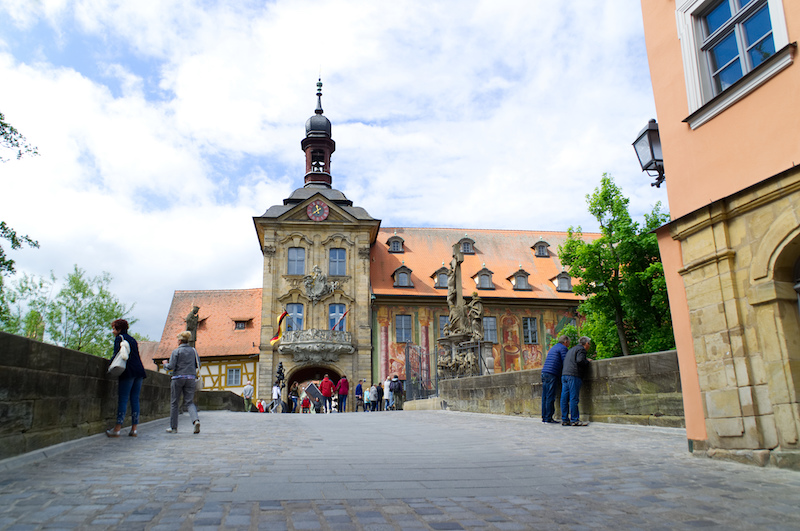 Das bunt bemalte alte Rathaus in Bamberg