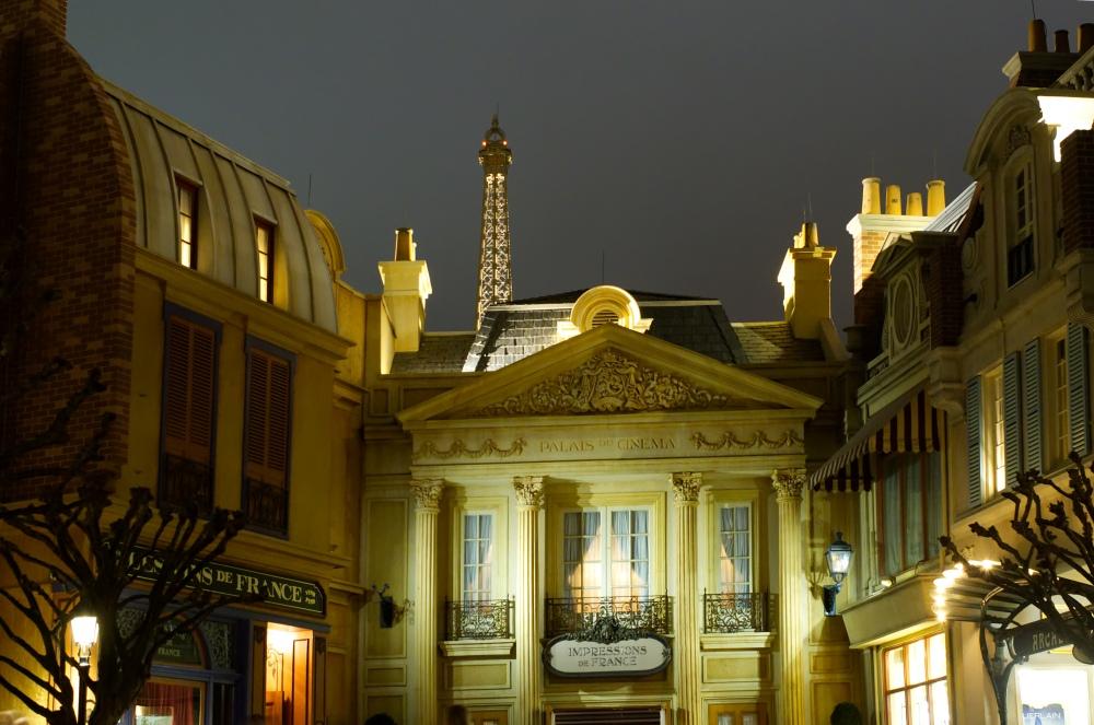 Epcots Frankreich am Abend