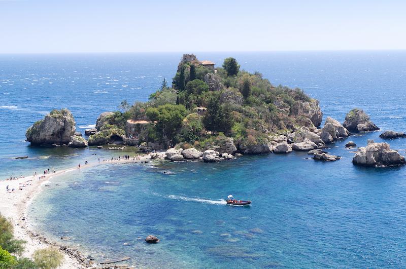 Blick von oben auf die Isola Bella
