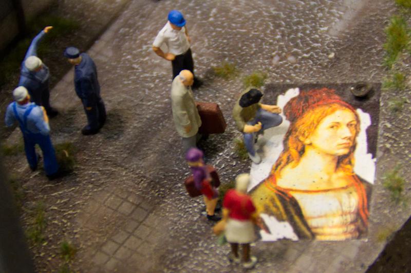 Italienischer Straßenkünstler im Miniaturwunderland