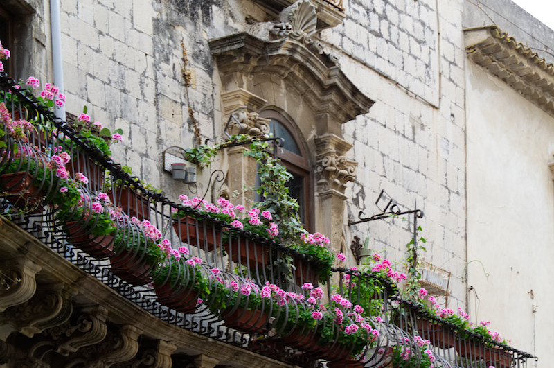 Bunte Blumen vor Fenster in Syrakus