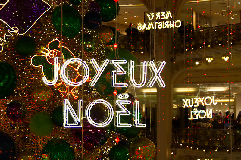 Glitzerschmuck zu Weihnachten in der Galerie Lafeyette
