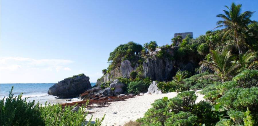 Die Ruinen von Tulum direkt am Strand