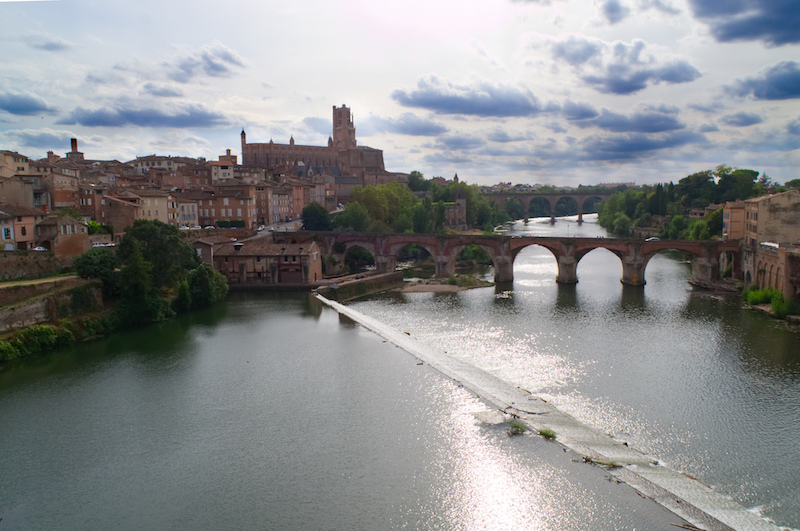 Albi mit Kathedrale, Fluss und Brücken