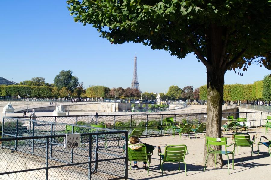 Blick von den Tuilerien hinüber Richtung Eiffelturm