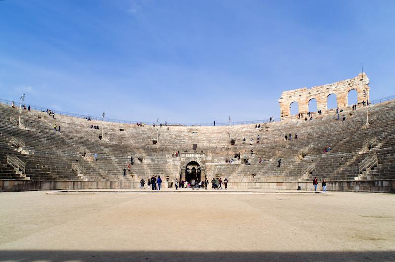 In der Mitte der Arena von Verona