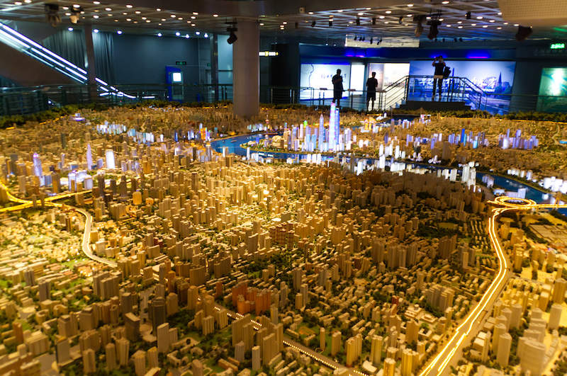Das Model der Megacity in der Urban Exhibition Hall
